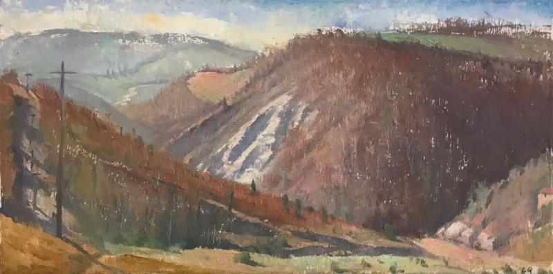 Langdon Quin, <em>Mesola da Silvano</em>, o-c, 35.5x71cm, 2005