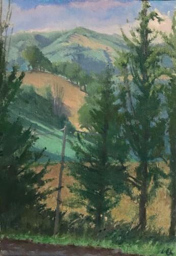 Langdon Quin, <em>Towards Montelovesco</em>, o-c, 50x35cm, 2015