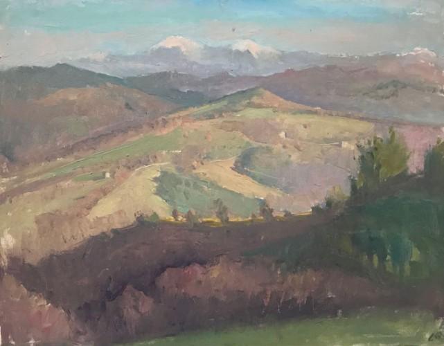 Langdon Quin, <em>Towards The Appenines,</em> o-canvasboard, 35x45cm,2005