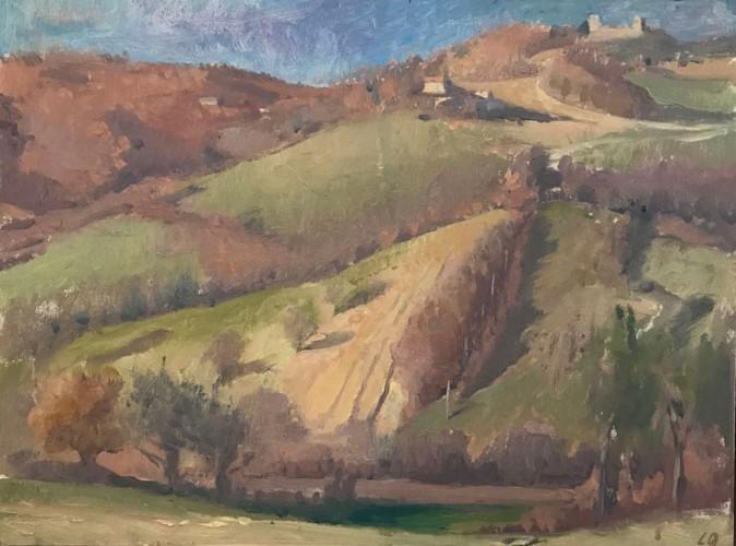 Langdon Quin, <em>Under San Benedetto,</em> oil on canvasboard,-30x40cm,-2006