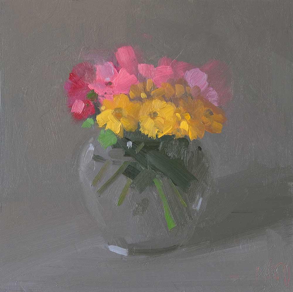 Amy Brnger, <em> Dark Bouquet, After Nice</em> 10 x 10 inches