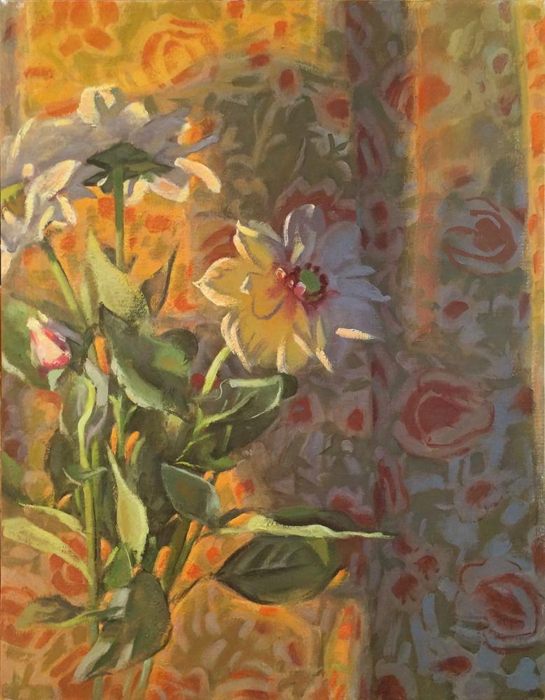 Paula Heisen, White Dahlias and Shadow, oil on linen, 18 x 14 inches, 2015