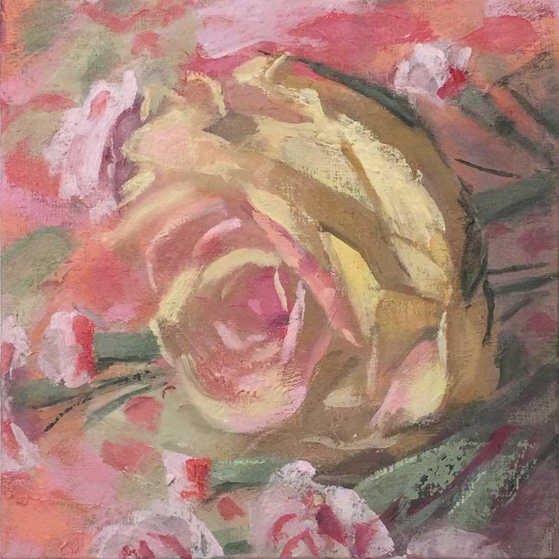Paula Heisen, <em>Light Yellow Rose</em> oil on linen, 6 x 6 inches, 2015