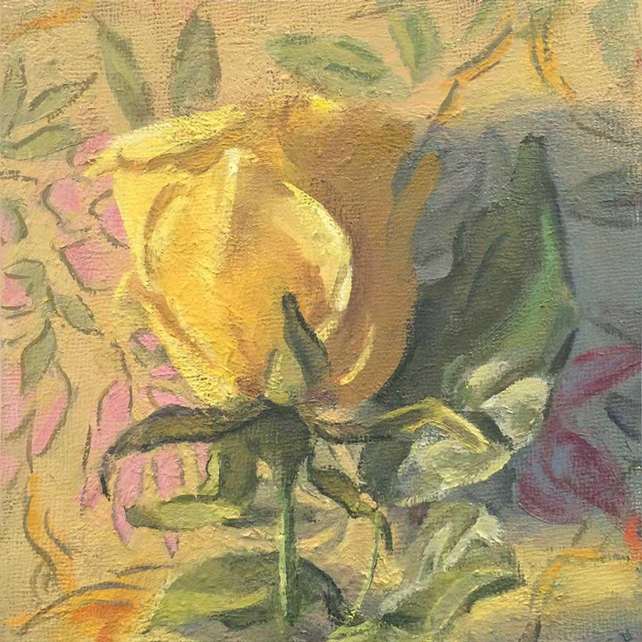 "Paula Heisen, <em>Single Yellow Rose</em> 2015, oil on board, 6""x6"""