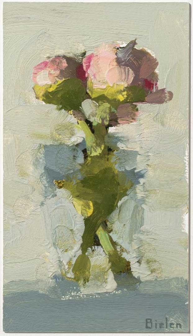 Stanley Bielen, <em>Entwined</em> oil-on-paper-8-x-4-1-2