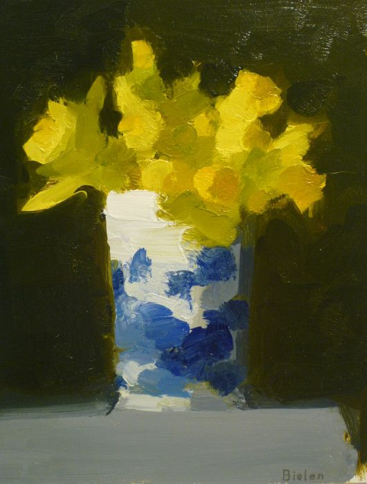 Stanley Bielen, <em>Trumpet Daffodils </em>oil on panel