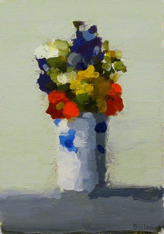 Stanley Bielen, <em>Nasturtium mixed flowers,</em> oil on panel 9x7
