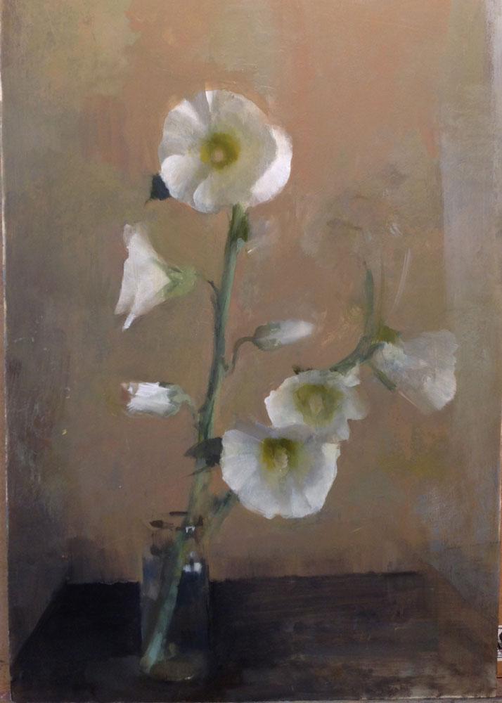 "Kathleen Speranza, <em> White Hollyhocks</em>, oil on Panel, 14"" x 18"" 2016"