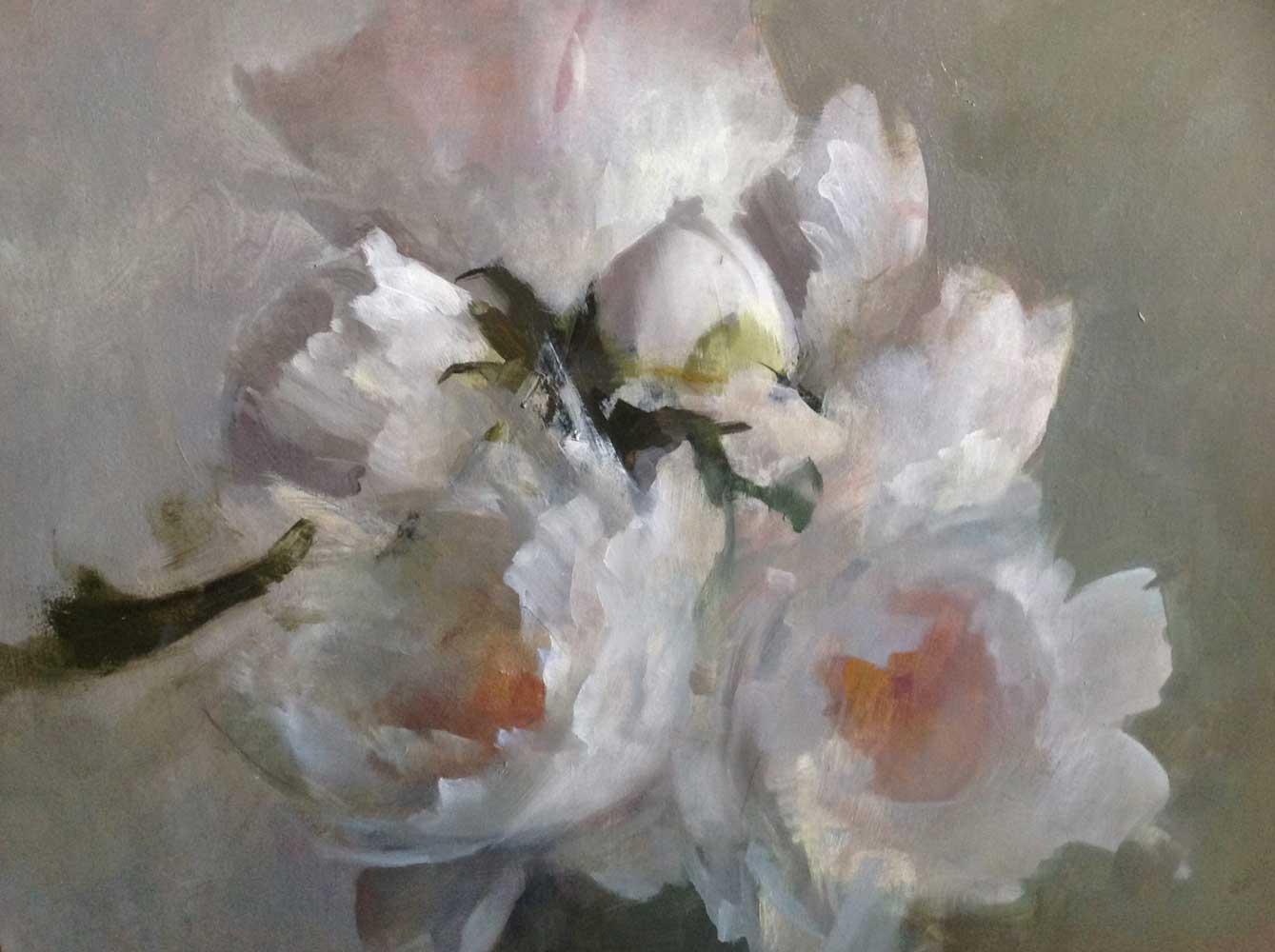 "Kathleen Speranza, <em>Tree Peonies</em>, oil on wood 16"" x 20"" 2013- 2015"