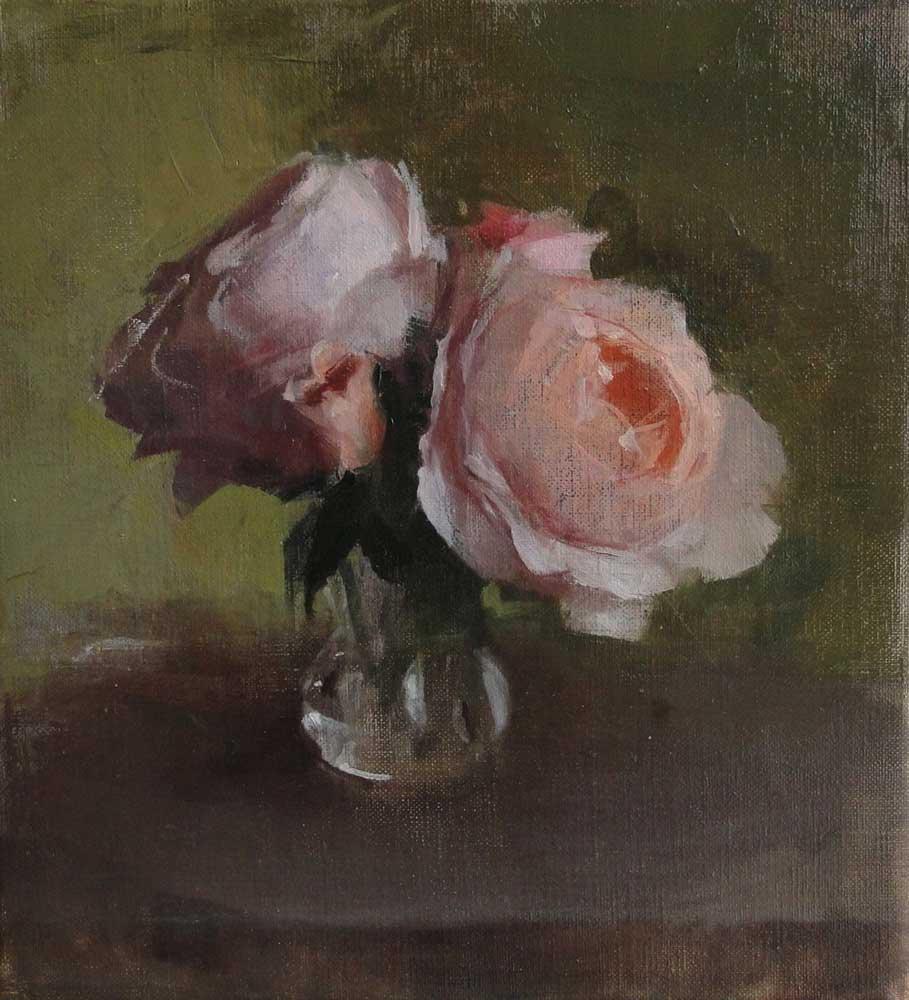 """Kathleen Speranza, <em>Roses for Lori Ann</em>, oil on linen, 9"""" x 10"""" 2013"""