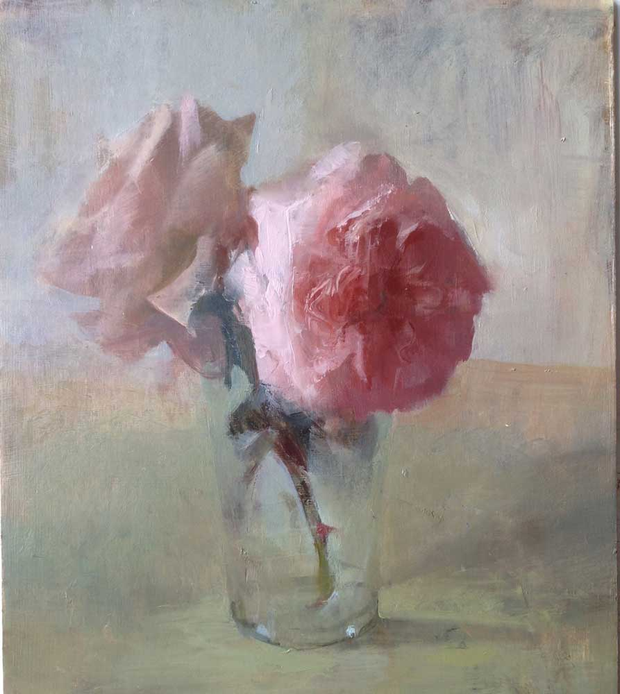 """Kathleen Speranza, <em> Small Pink Roses</em>, Oil on Panel 11"""" x 14"""" 2013</em>"""