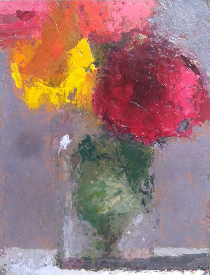 "Scott Smith, <em>Untitled Still Life with Flowers</em>, 5x7"" oil on panel"