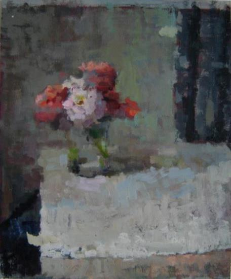 "Scott Smith, <em>Untitled Still Life with Flowers</em>, 16x20"" oil and collage on paper"