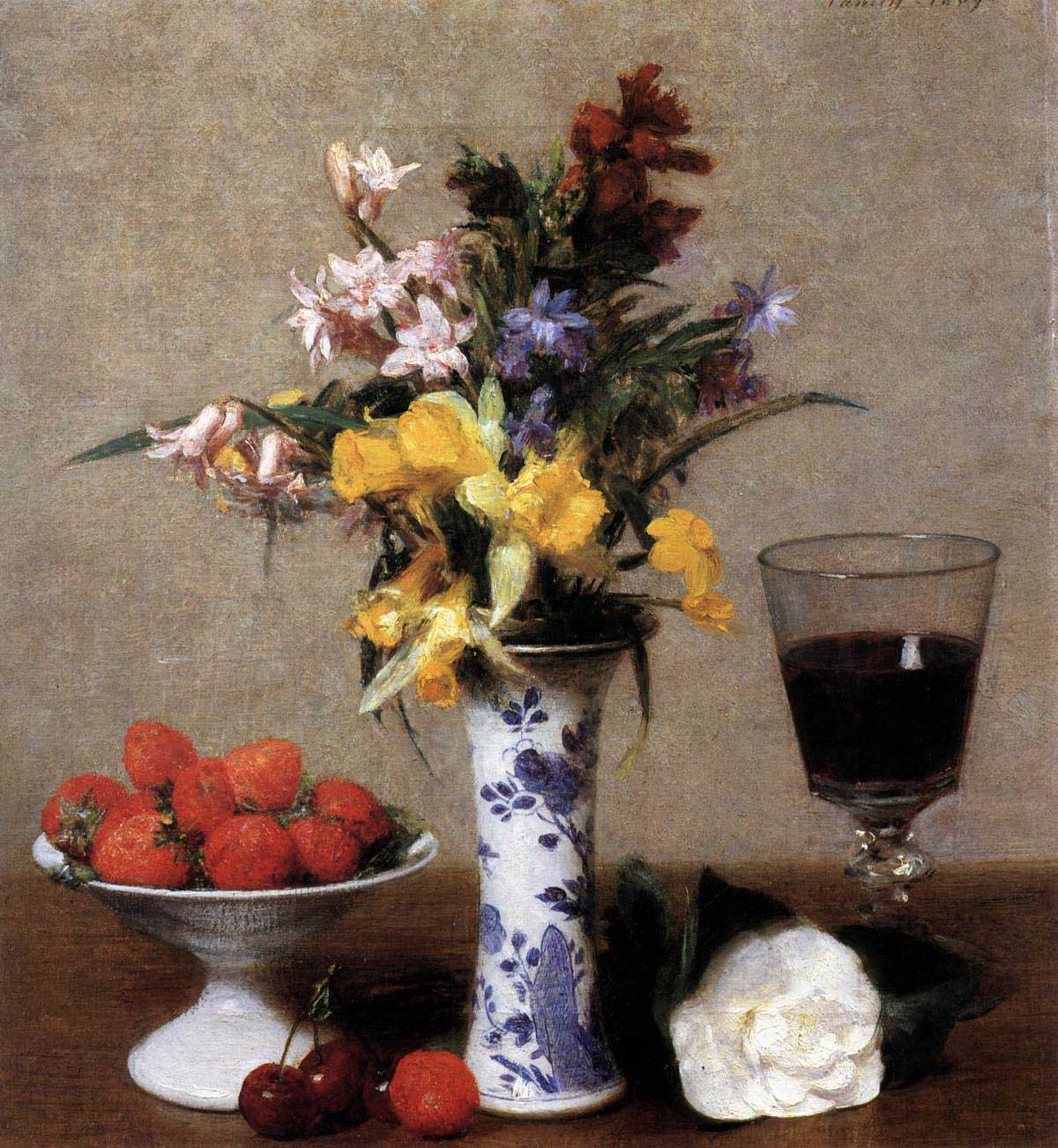 Henri Fantin-Latour, Still-Life with Flowers and Fruit, 1865, Oil