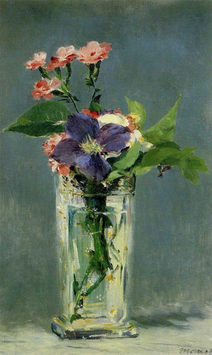 Edouard Manet Oeillets-et-Cematite-dans-un-Vase-de-Cristal