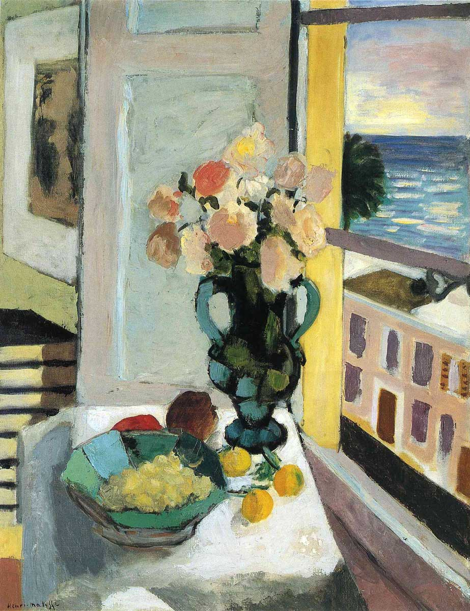 Matisse Flowers-in-front-of-a-window-1922