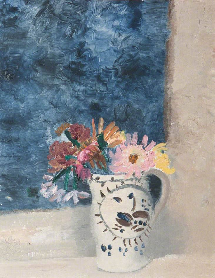 Winifred Nicholson; Flowers; Girton College, University of Cambridge; oil on canvas; 79.5 x 39 cm