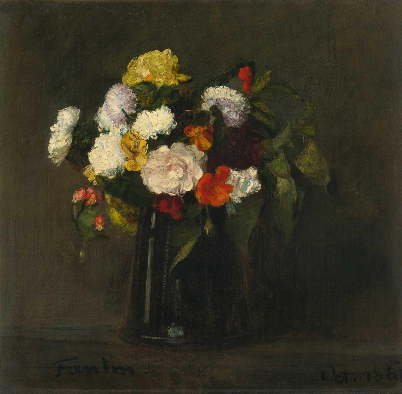 Henri Fantin-Latour FLEURS 18 1/2 by 19 1/4 in. Oil on canvas 1861