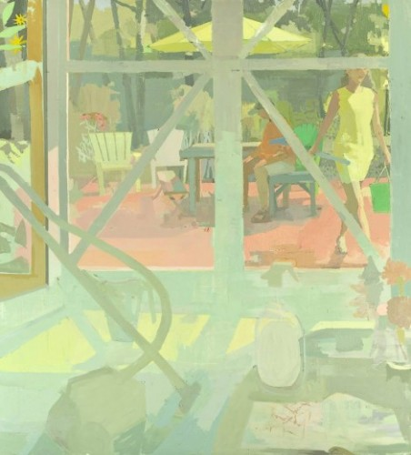 Susan Lichtman,<em> Studio Doors with Vacuum</em> oil on canvas, 64 x 58 inches, 2016