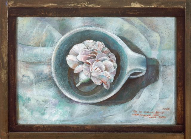 A Carnation for Simone, 1982, oil on wood panel, 4 3/8 x 6 3/8 inches