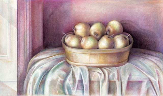 French Pears, 1987, conté crayon, colored pencil, pastel, 19 7/8 x 33 3/4 inches