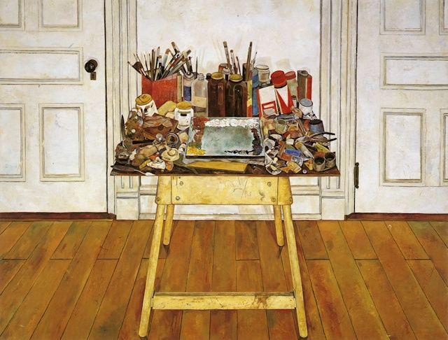 Studio Still Life, 1976, oil on wood panel, 48 x 63 inches