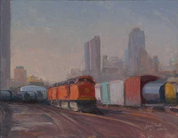 Trains 4/14/14, oil on panel