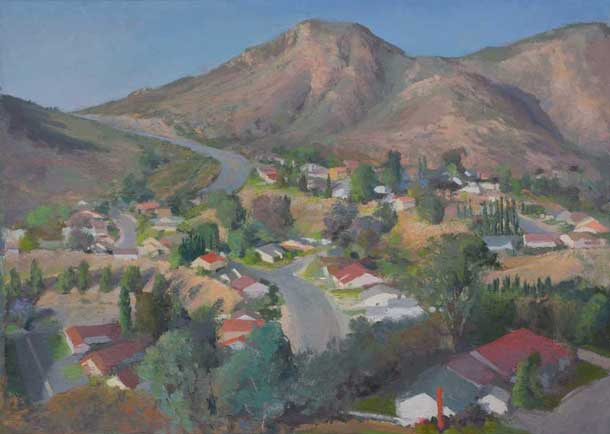 Cowles Mountain over San Carlos, 26 x 36 inches, oil on linen mounted on board, 2013