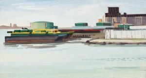 """Gowanus Bay           Oil on Panel, 12"""" X 22"""", '14"""