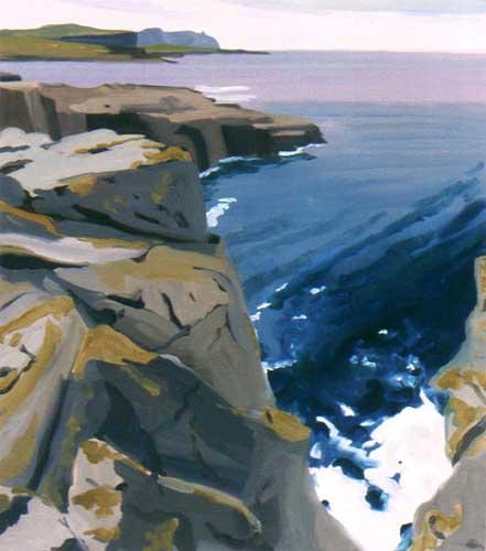 "White Foam, Coast Road, County Clare, 2001, Oil on Panel, 18"" x 14"""