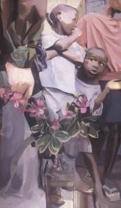 Dendrobium Orchids, Children & Soldier (Sierra Leone) 27 x 16, oil on canvas 2001