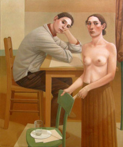 The Young Man and the Flower Lady, 2010, oil on linen, 48 x 39 7/8 inches