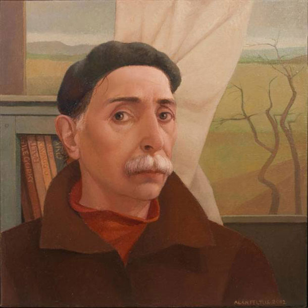 Alan Feltus, Self-Portrait in Studio, 2012, 15 3/4 X 15 3/4 in