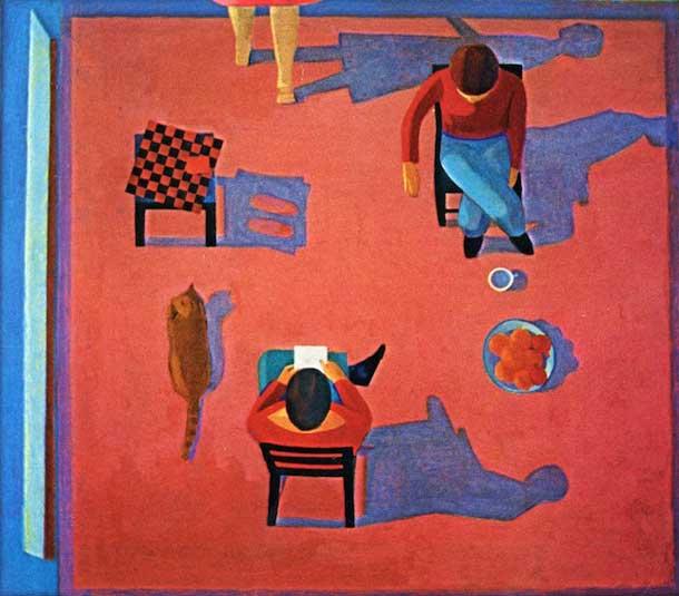 """Three Friends, 1978, 71x81"""", oil on canvas"""