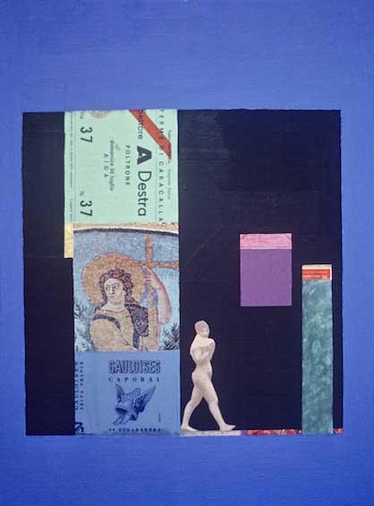 """Woman Among Ruins, 1979, 14.75x11"""", mixed media"""