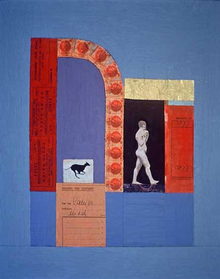 """Woman Among Ruins, 1979, 14.5x11.5"""", mixed media"""
