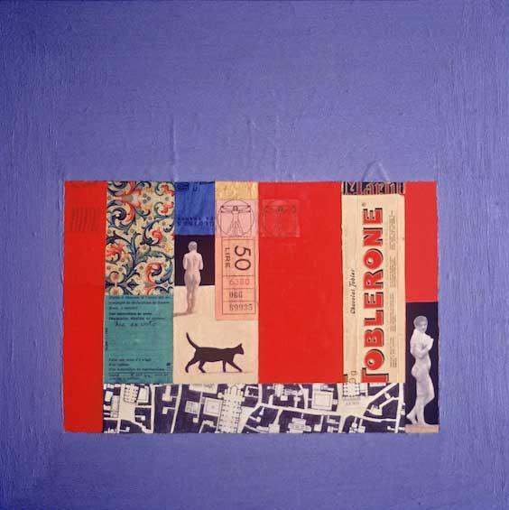 """Roman Cityscape, 1978, 15x15"""", mixed media"""