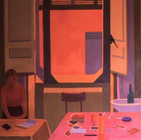 """Albergo della Lunetta,1983, 60x60"""" oil on canvas"""
