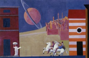 "Town with a Planet, 1998, 15x22.5"", mixed media/casein on paper"