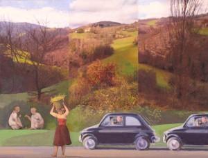 "Via Nogna 10, 2014, 16x22"", mixed media/matte acrylic on panel"