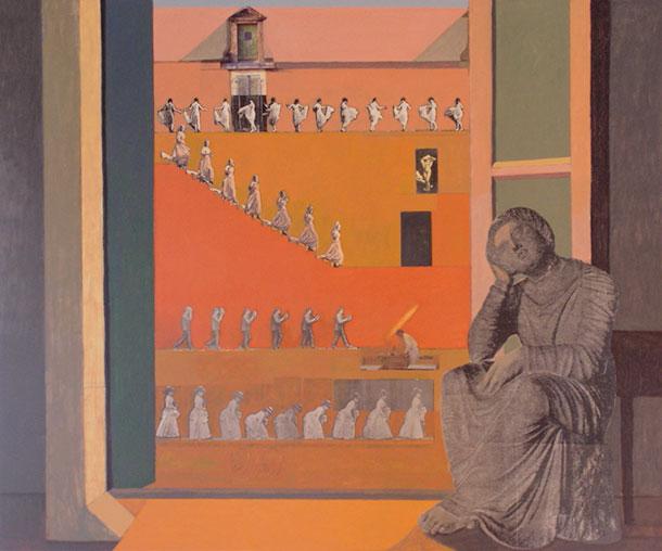 """Albergo della Lunetta, 2005, 40x48"""", mixed media/oil on panel"""