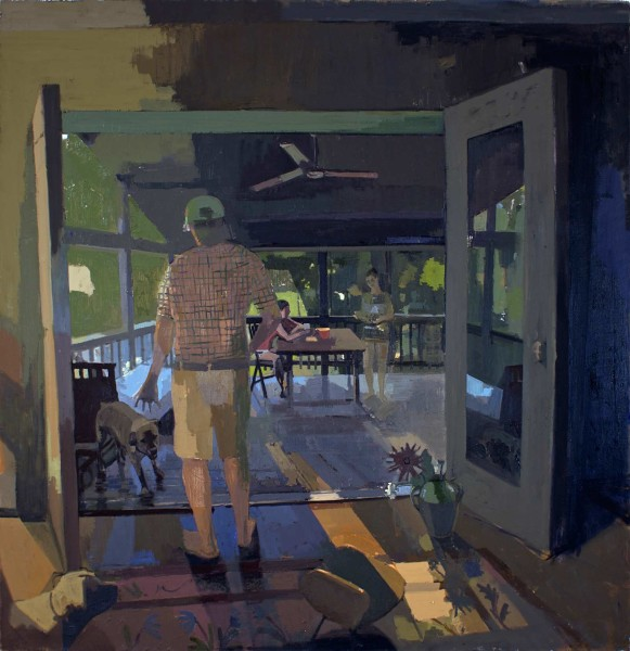Father, Dogs, Daughters, 62x60 in o/c 2007