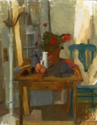 Still Life with Geranium, 30 x 38 in. oil/linen