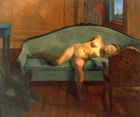 Nude on Sofa, 86 x 78 in. oil/linen