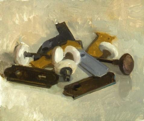 Doorknobs, 14 x 11 in. oil/linen