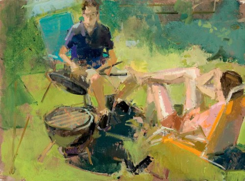 Study for Barbecue, 16 x 12 in. oil/muslin on panel