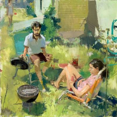 Barbecue, 40 x 40 in. oil/linen on panel