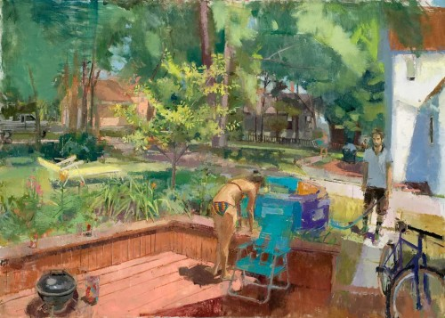 Backyard, 64 x 46 in. oil/linen