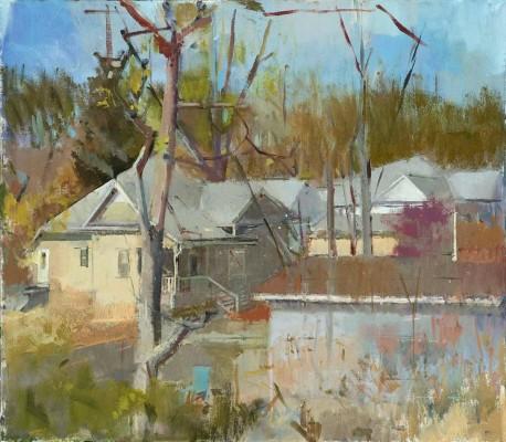 Backyard View, 38 x 30 in. oil/linen