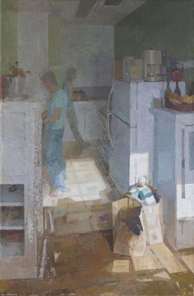 """Kitchen, 2016 Oil on linen on panel, 43"""" x 28.5"""""""